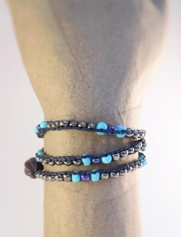Silver Blue Bead 1